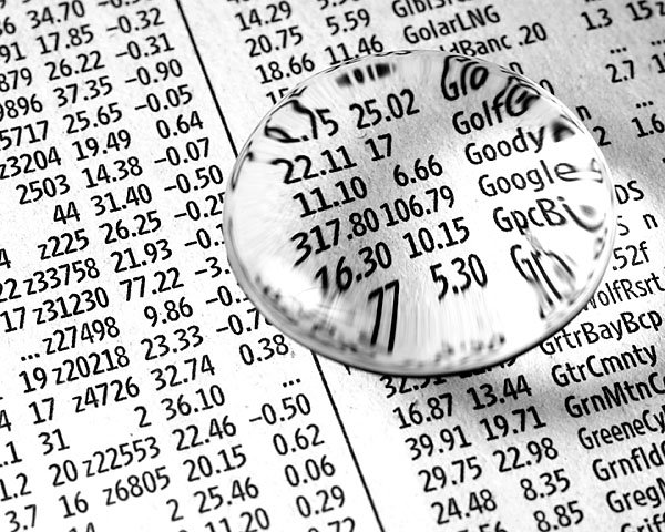 Stock market investing glasses paper numbers 2