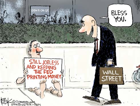 Fed easing wall street cartoon